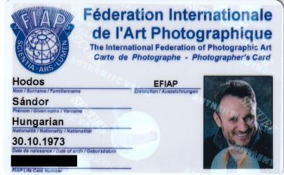 Hodos Sándor (Alex) EFIAP kártya- pixLX